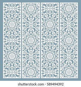 Laser cut decorative lace borders patterns. Set of bookmarks templates. Cabinet fretwork panel. Lasercut metal panel. Wood carving. Vector.