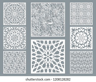 Laser cut decorative panel set with lace pattern, square ornamental templates collection for die cutting or wood carving, element for wedding invitation card. Cabinet screen.