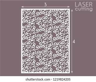 Laser cut decorative panel template. Interior screen with swirls pattern. Wall or window panel cutting template. Cabinet fretwork panel. Die cut invitation card, wood carving.