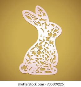 Laser cut Easter bunny rabbit. Floral fancy hare with laser cut pattern for die cutting. Laser cutting rabbit template.