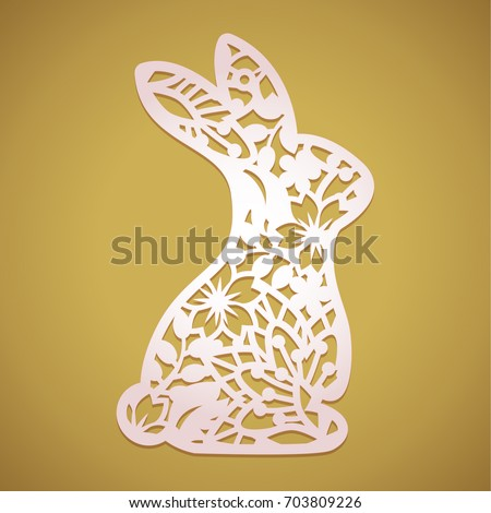 laser cut easter bunny rabbit floral のベクター画像素材