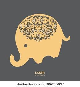 Laser Cut Elephant Decorative Design