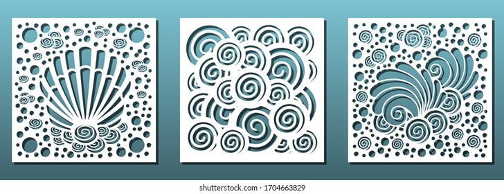Laser cut emplates. Square panels with nautical pattern and seashells. For cnc cuttung or carving stencil, fretwork, paper art, wall art decor and interior design. Vector illustration