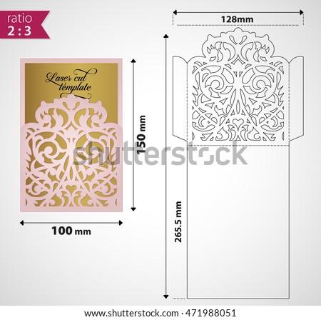 laser cut envelope exquisite wedding invitation stock vector