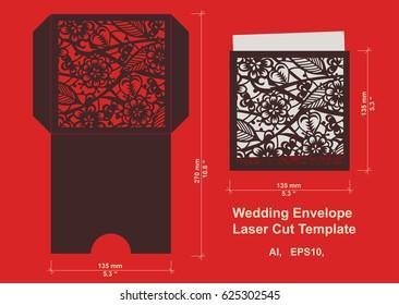Laser cut flower pattern for wedding invitation envelope. Vector template floral panel for paper, cardstock, metal, wood, vinyl.Vector isolated.