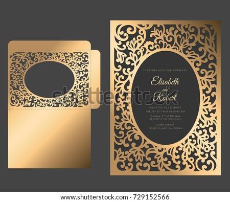 laser cut frame envelope template floral stock vector royalty free