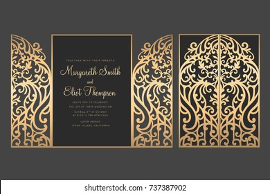 Laser cut gate door fold card. Wedding invitation envelope.