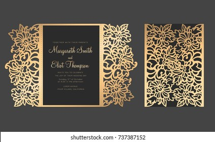 Laser cut gate fold card, Floral envelope for wedding invitations.