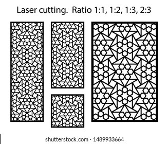 Laser cut geometric template set. Laser cutting vector pattern. Panels and screens for cnc cut.