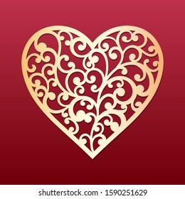 Laser cut heart with swirls pattern. Template for cutting, interior design, layouts wedding cards, invitations, Valentine's Day cards. Vector floral heart.
