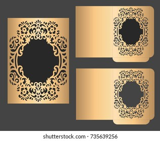 Laser cut invitation envelope template. Wreath frame paper cut design.
