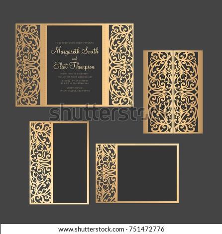 laser cut invitation set gate fold stock vector royalty free