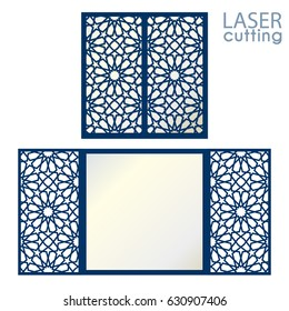 Laser cut islamic pattern card template vector. Die cut greeting card with arabic pattern. Cutout paper gate fold card for laser or die cutting.