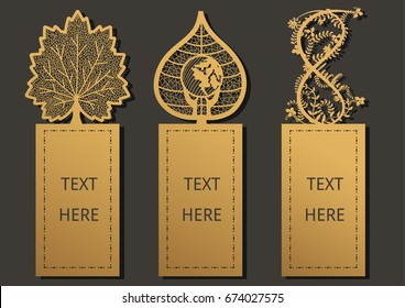 Laser cut with Leaves set of ornate cards. Template for greeting card ,wedding, invitation, gift card, thanks tag, small card, bookmark and label with space for your text. Vector illustration design.