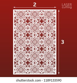 Laser cut ornamental panel template with pattern. May be use for die cutting. Lazer cut card. Template for wedding invitation. Cabinet fretwork screen. Lasercut metal panel. Wood carving.