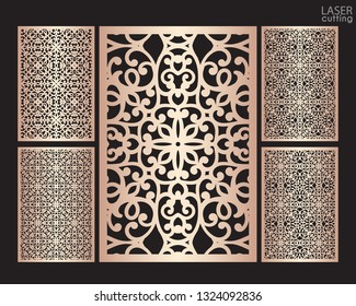 Laser cut ornamental panels set with pattern, template for cutting. Ratio 2:3. Wedding invitation or greeting card template. Cabinet fretwork screen. Metal design, wood carving.