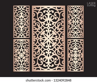 Laser cut ornamental panels set with pattern, template for cutting. Ratio 1:2. Wedding invitation or greeting card template. Cabinet fretwork screen. Metal design, wood carving.