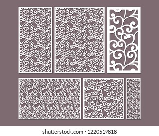 Laser cut ornamental panels template set with swirls pattern. Ratio 1:1, 1:2, 1:3, 1:4, 2:3, 3:4. Interior screen, wall or window panel cutting template, wood carving.