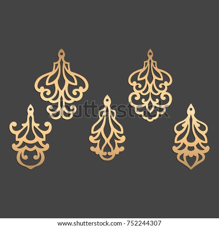 laser cut ornamental pendant template deseign stock vector royalty