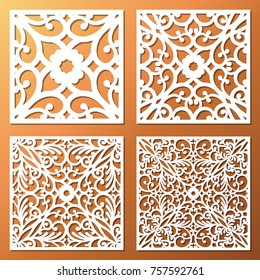 Laser cut ornamental square panel set with vintage baroque pattern. Beautiful openwork templates of wedding invitation or greeting card. Cabinet fretwork screen. Metal design, wood carving.