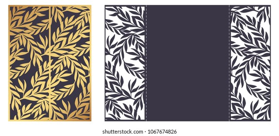 Laser cut ornamental vector template. Luxury Greeting card, envelope or wedding invitation template. Die cut paper gate fold card with openwork floral ornament  with leaves. Olive branches pattern.