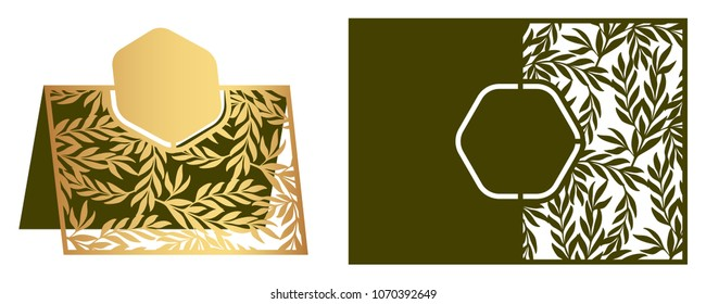 Laser cut ornamental vector template with floral pattern. Freestanding table Number, Name, Place, Wedding seats, Escort card. Die cut paper card with openwork ornament with olive leaves and branches.