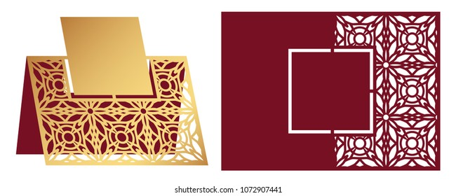 Laser cut ornamental vector template. Freestanding table Number, Name, Place, Wedding seats card, Table guests or dining table card, Escort card. Cut Out paper map for laser cutting