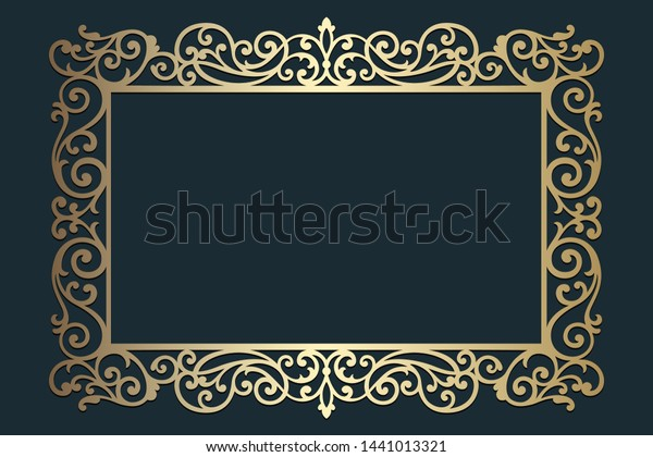 Laser Cut Ornate Frame Wedding Invitations Stock Vector Royalty Free 1441013321