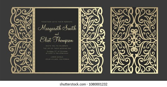 Laser cut panel design. Floral wall decor. Vector template for cutting. Gate fold wedding invitation card.