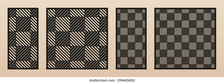 Laser cut panel set. Abstract geometric pattern with lines, squares, checkered texture. Decorative template for wood cut, paper card, metal cutting, engraving, fretwork, carving. Aspect ratio 1:1, 1:2