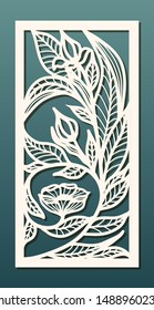 Laser cut panel template, anstract floral pattern. Stencil for wood or metal cutting, carving, paper art, fretwork. Card background decoration, interior design. Vector illustration