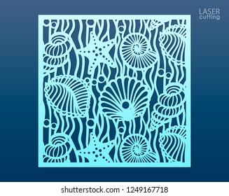 Laser cut panel template with pattern of seashells and stars. Decorative element for interior design in marine style. Wall or window panel, die cut embellishment. Cabinet fretwork screen.