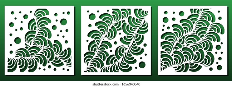 Laser cut panel templates with abstract geometric floral pattern. Wood or metal cutting, fretwork stencil, paper art, interior design. Vector illustration