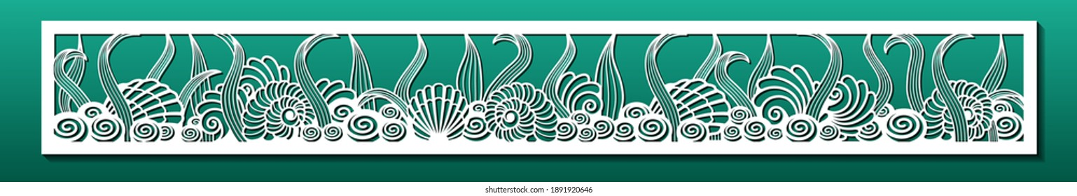Laser cut panel with underwater design. Wall art, home decor, room divider or screen. CNC cutting stencil. Sea shells and plants pattern. Vector illustration