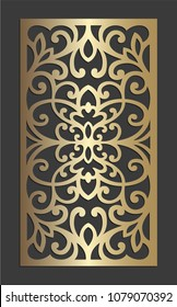 Laser cut panel vector design. Ornamental Die cut ornamental panel. May be user for laser cutting.  Silhouette pattern. Cabinet fretwork panel. Filigree decorative pattern.