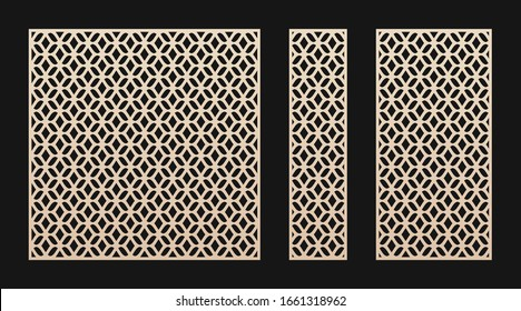 Laser cut panel. Vector template, abstract geometric pattern in Oriental style. Elegant grid, mesh, lattice ornament. Decorative stencil for laser cutting of wood, metal. Aspect ratio 1:1, 1:4, 1:2