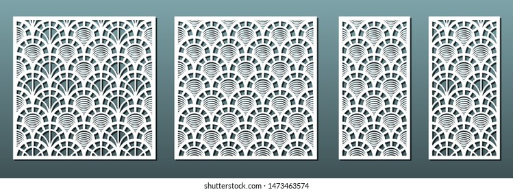 Laser cut panels with abstract geometric pattern, vector set. Template for metal cutting, wood carving, fretwork stencil , paper art. Useful in interior design, card decoration.