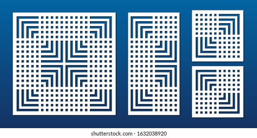 Laser cut panels. Abstract geometric pattern with lines, squares, stripes, grid. Elegant decorative template for wood, paper card, metal cutting, engraving, fretwork, carving. Aspect ratio 1:1, 1:2