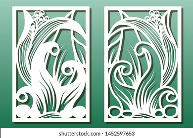 Laser cut panels with floral pattern. Stencil or template for  interior wood or metal décor cutout, fretwork or paper art, card engraving. Vector set with underwater world design.