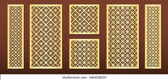 Laser cut panels with geometric pattern in arabic islamic design style, vector set. Template or stencil for metal cutting, wood carving, fretwork, paper art. Use in interior décor, card background.