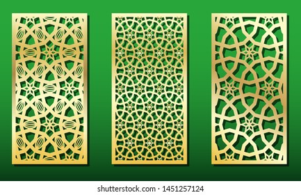 Laser cut panels with islamic geometric ornament. Templates for wood or metal decoration, stencil for laser cut-out, fretwork , engraving, paper cards. Arabic traditional patterns, vector set