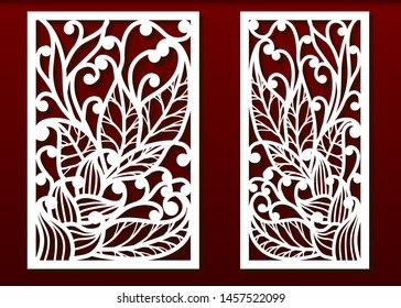Laser cut panels. Stencil for fretwork, wood or metal decorative cutout, paper templates. Useful for home interior decoration, card engraving or carving design. Floral pattern , vector set.
