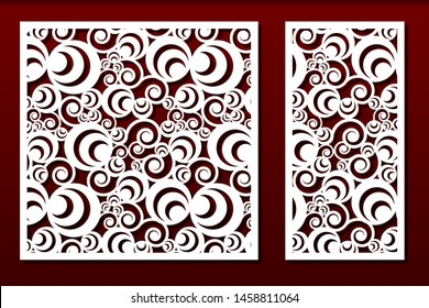 Laser cut panels. Stencil for fretwork, wood or metal decorative cutout, paper art templates.  For interior decoration, cards, engraving or carving. Abstract  design, geometric pattern, vector set