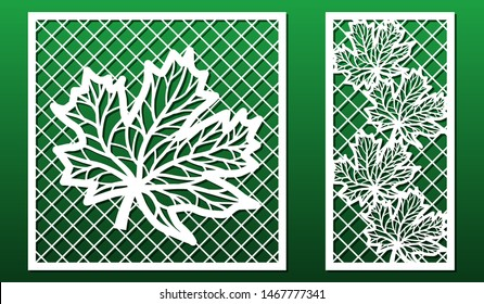 Laser cut panels. Stencil for fretwork, wood or metal decorative cutout, paper art templates.  For interior decoration, cards, engraving or carving. Floralt  design with maple leaves