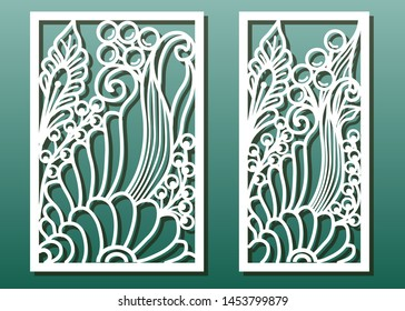 Laser cut panels. Stencil for interior wood or metal décorative cutout, paper art , fretwork or carving, card engraving template. Ornate with floral pattern, underwater world design. Vector set.