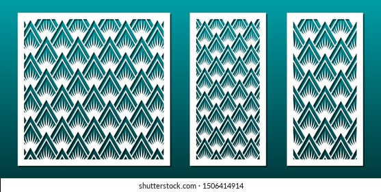 Laser cut panels template, abstract geometric pattern. Metal decorative cutout, wood carving, fretwork stencil, paper art.  For interior design, card background decoration, engraving. Vector set