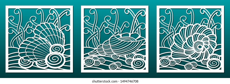Laser cut panels templates, underwater world design pattern, seashells and  weeds. For metal or wood cutting or carving stencil or die, fretwork, paper art, for interior or card décor, Vector set