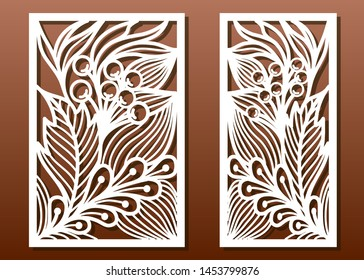 Laser cut panels, vector set. Die templates, cut-out for wood or metal decor or fretwork, card engraving stencil. Floral pattern with leaves.