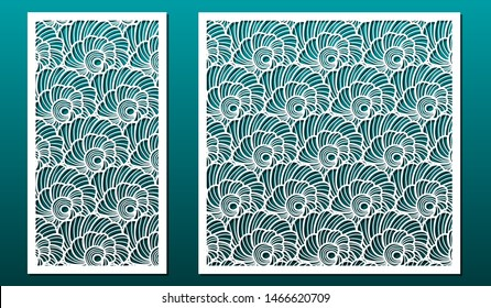Laser cut panels vector set. Template or stencil for wood carving, metal cutting, paper art, fretwork, card engraving design or home interior decor. Abstract pattern with seashells.