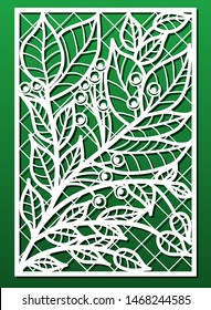 Laser cut panels vector set with floral pattern. Template or stencil for wood carving, metal cutting, paper art, fretwork, card engraving design or home interior decor.